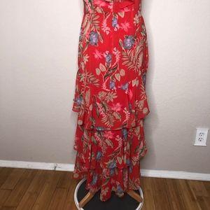 ce33ac8d8c22c Wayf Dresses | Chelsea Tiered Ruffle Maxi Dress Red Tropical | Poshmark